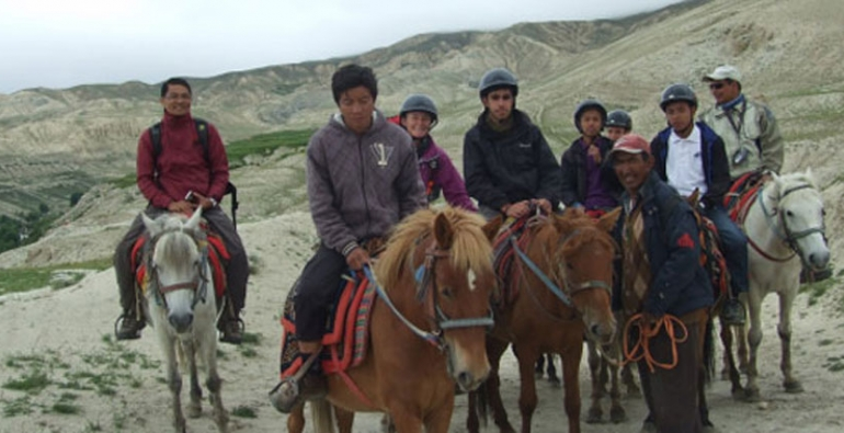 Horse riding is an option on day tour in Lo- Mantang, Mustang