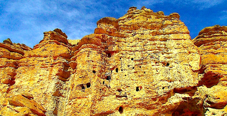 Impressive view of Chosar Cave, Lo - Manthang, Mustang
