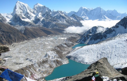 View of Gokyo Lake and Khumbu Glacier from Gokyo Lake